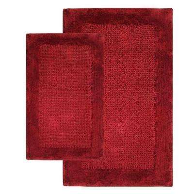 21 in. x 34 in. and 24 in. x 40 in. 2-Piece Naples Bath Rug Set in Wine