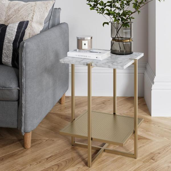 Nathan James Myles White Marble Top and Gold Metal Base 2-Tier