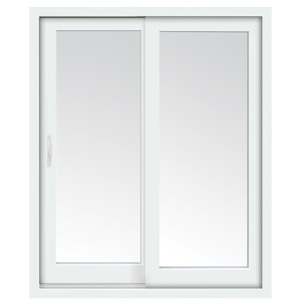 stanley doors 71 in x 80 in glacier white vinyl left hand low e sliding patio door with screen handle set and nailing fin 600007 the home depot - Sliding Patio Doors