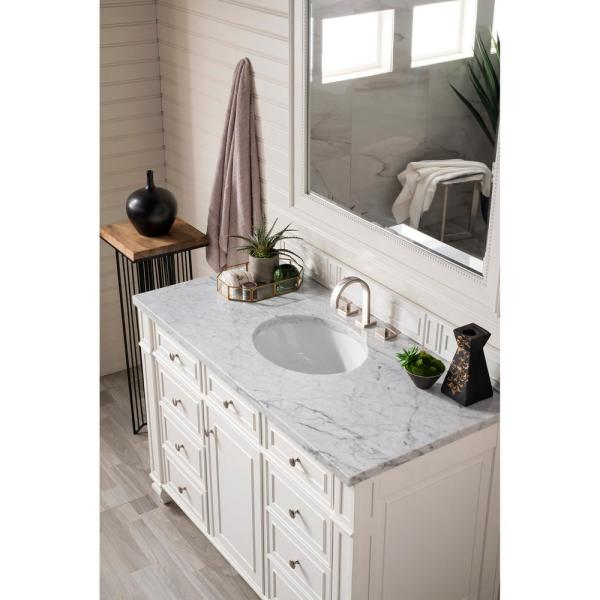 Bristol 48 in. Single Bath Vanity in Cottage White with Marble Vanity Top in Carrara White with White Basin