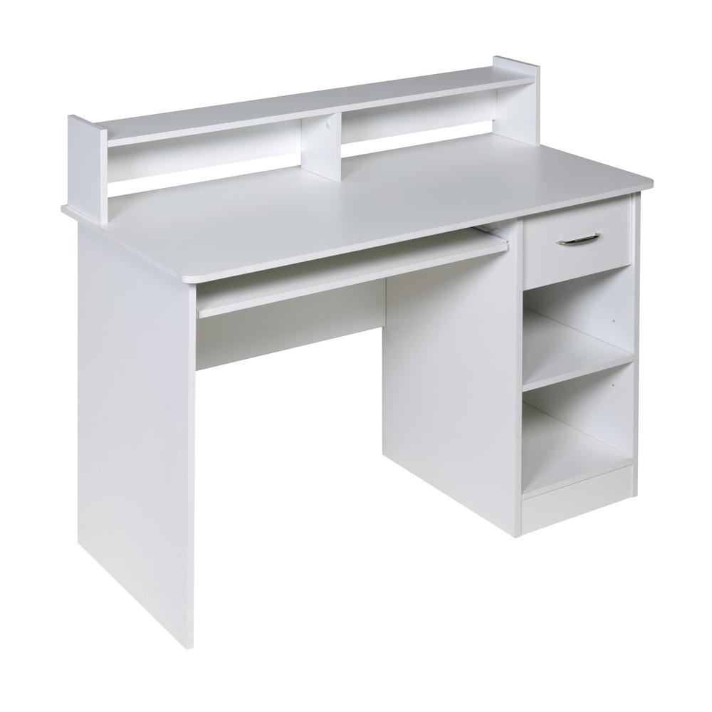 Essential White Computer Desk Hutch With Pull Out Keyboard
