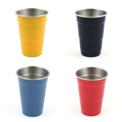 16 oz. Stainless Steel Scarlet, Daffodil, Lapis, and Cobalt Everyday Cups (4-Pack)