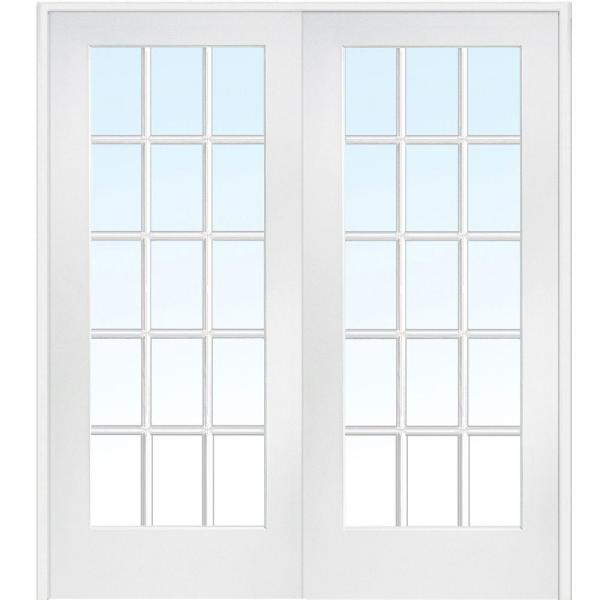 72 in. x 80 in. Both Active Primed Composite Glass 15 Lite Clear True Divided Prehung Interior French Door