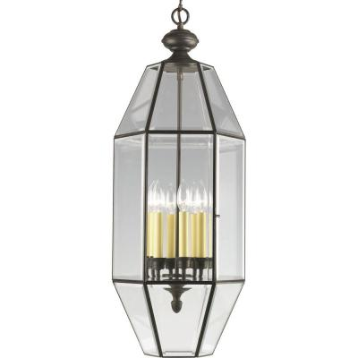 6-Light Antique Bronze Foyer Pendant with Clear Beveled Glass