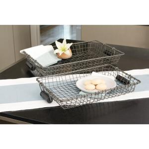 Casa 23 in. x 14 in. and 19 in. x 12 in. Decorative Trays in Natural and Black (Set of 2)