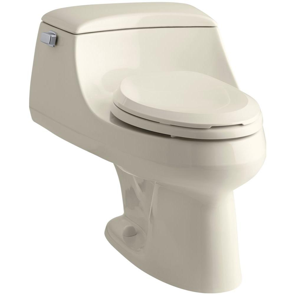 KOHLER San Raphael 1-piece 1.6 GPF Single Flush Elongated Toilet in Almond