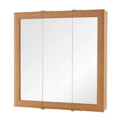 24 In W X 24 In H Fog Free Framed Surface Mount Tri View Bathroom Medicine Cabinet In Oak