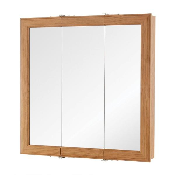 24 in. W x 24-3/16 in. H Fog Free Framed Surface-Mount Tri-View Bathroom Medicine Cabinet in Oak