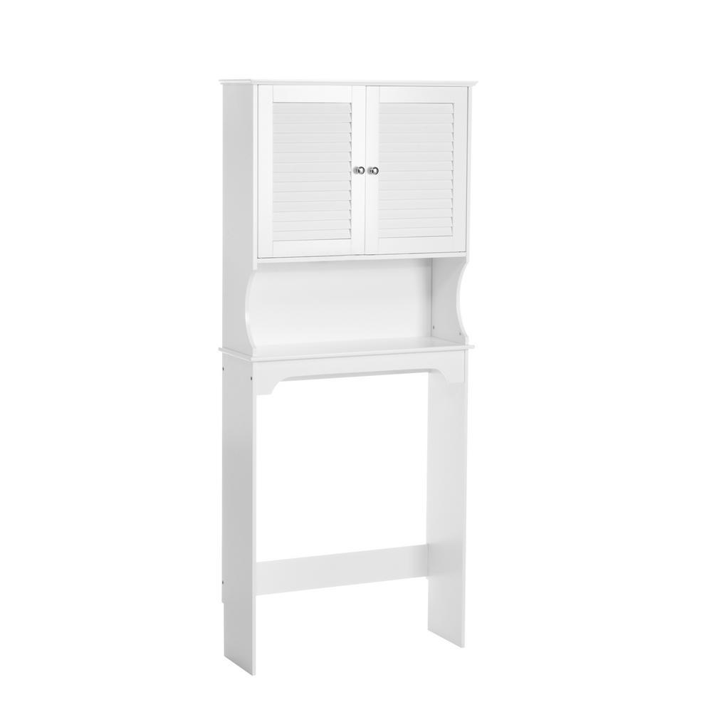 Ellsworth 27-9/25 in. W x 64-4/7 in. H x 9-1/4 in. D 2-Door Over the Toilet Storage Cabinet in White
