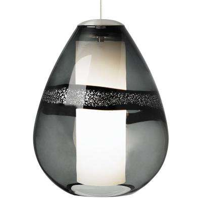 Miyu 1 light satin nickel gray incandescent hanging pendant