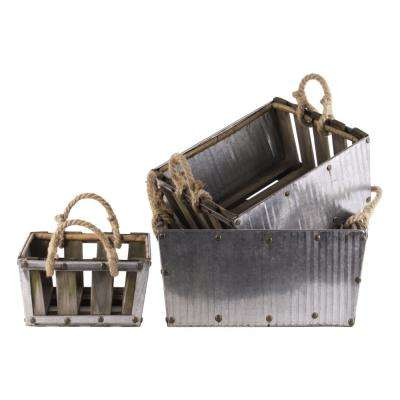 Gray and Brown Decorative Basket (Set of 3)
