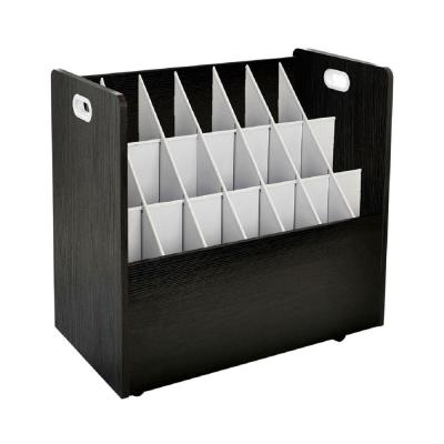21-Slot Black Mobile Rolling Wood Blueprint Roll File Large Document Organizer