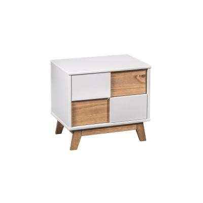 Livonia 2-Drawer White and Natural Wood Nightstand