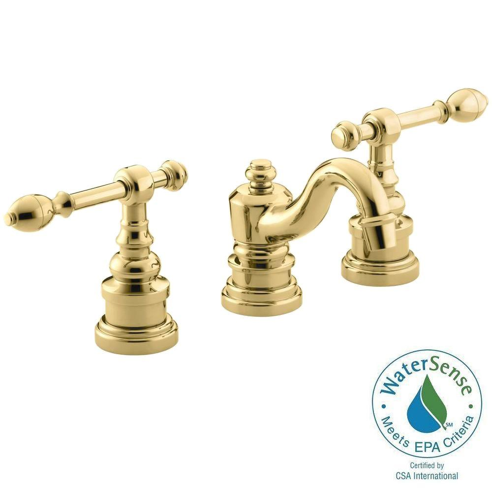 KOHLER IV Georges Brass 8 In. Widespread 2 Handle Low Arc Bathroom Faucet  In Vibrant Polished Brass K 6811 4 PB   The Home Depot