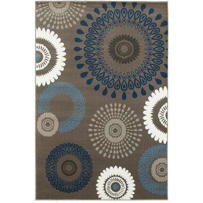 Adana Charcoal and Blue 9 ft. x 13 ft. Plush Indoor Area Rug