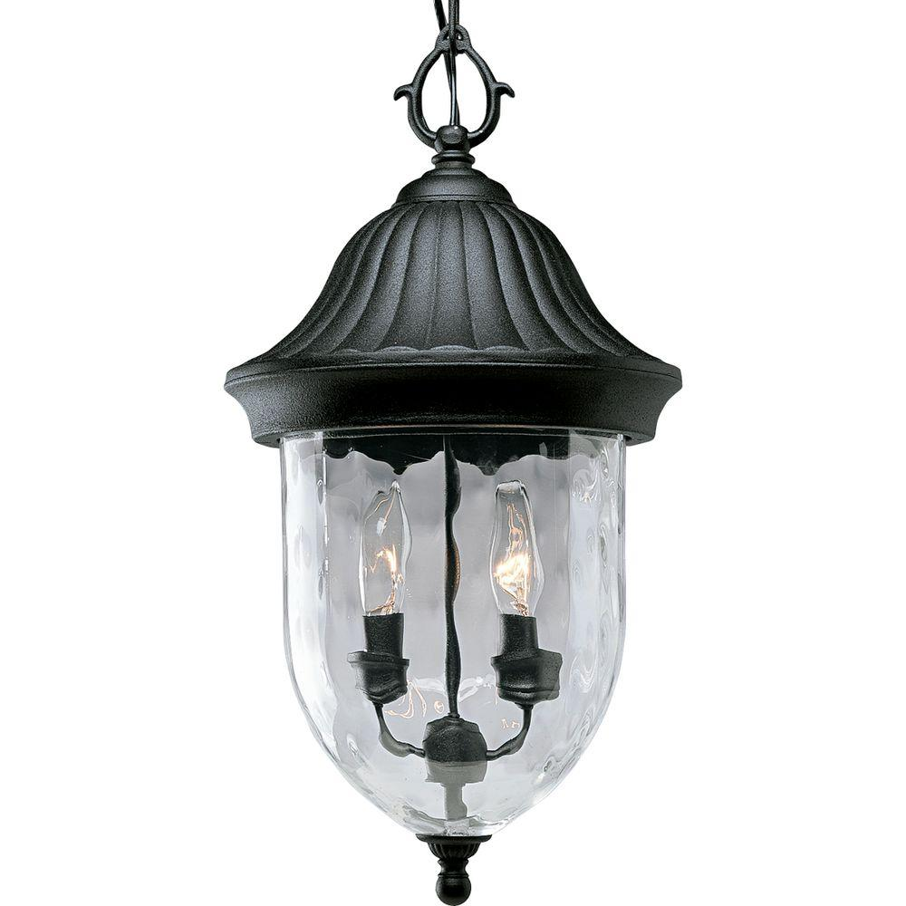 Progress Lighting Coventry Collection 2 Light Textured Black Outdoor Hanging Lantern