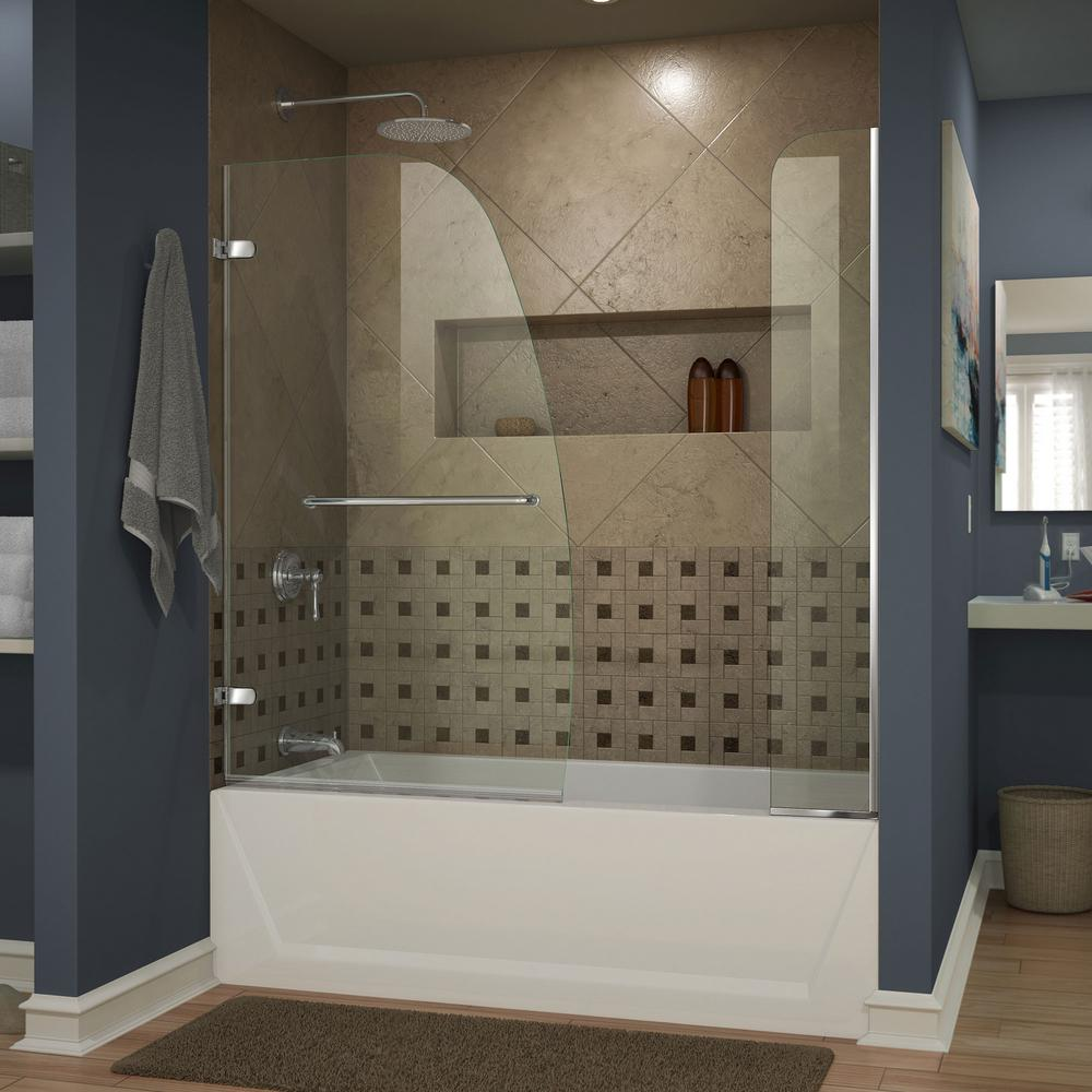Delightful DreamLine Aqua 48 In. X 58 In. Semi Framed Pivot Tub And Shower Door In  Chrome With Handle SHDR 3148586 01   The Home Depot