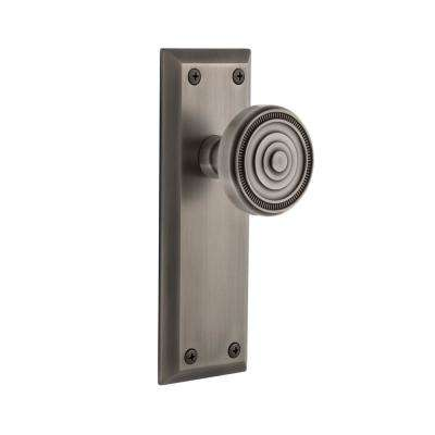 Fifth Avenue Plate 2-3/8 in. Backset Antique Pewter Passage Hall/Closet with Soleil Door Knob