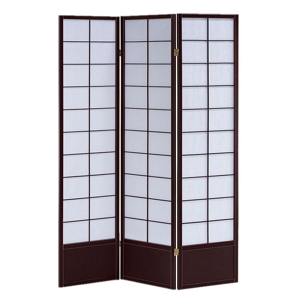 Shoji Wood Screen 6 ft. Black 3-Panel Room Divider