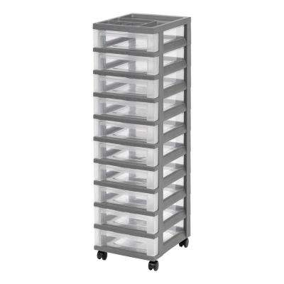 12.05 in. x 42.25 in. Medium 10-Drawer Storage Cart with Organizer Top, Gray