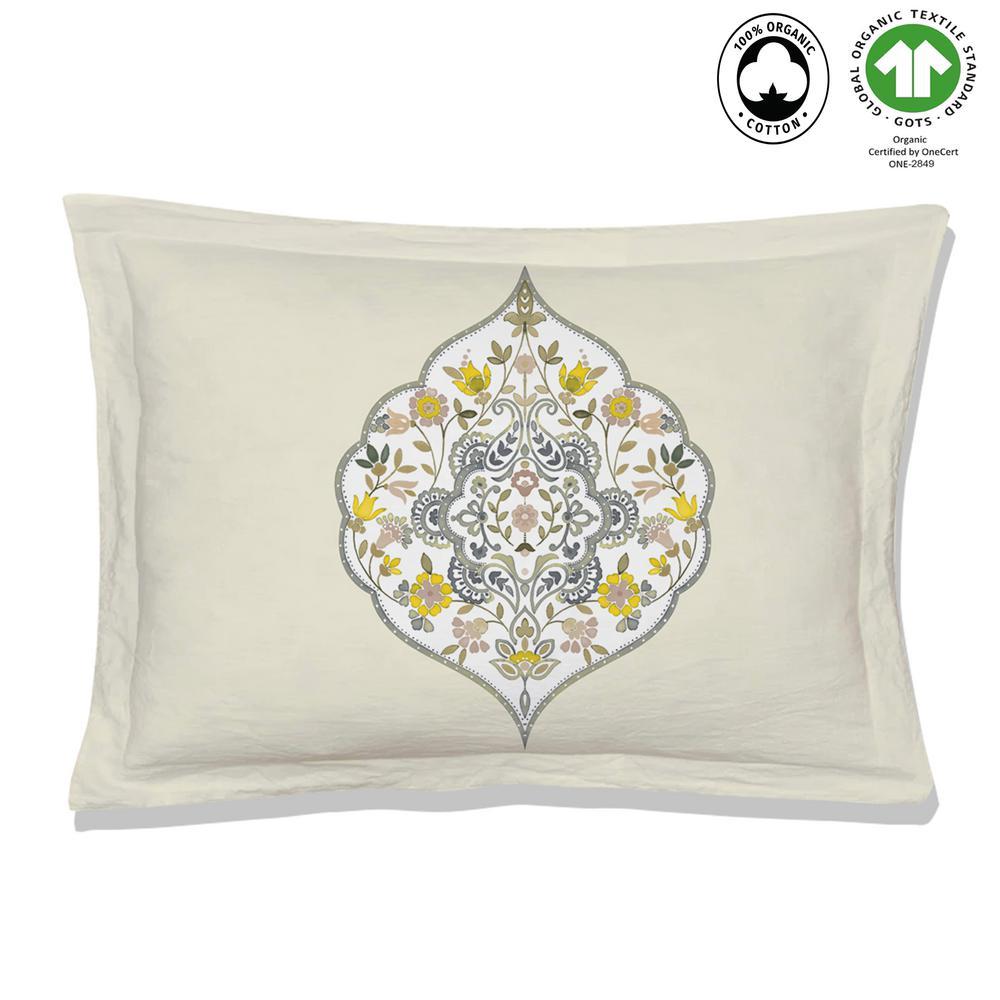 Gracia Reversible Print Yellow/Green 100% Organic Cotton Queen Sham (Set of 2)