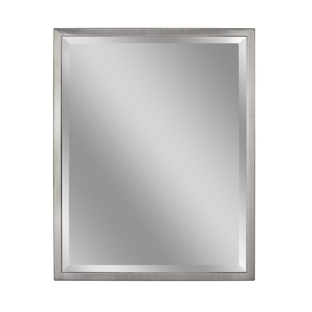 Deco Mirror 24 In W X 30 H Clic 1 Metal Frame Wall Brush Nickel 8020 The Home Depot
