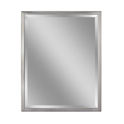 24 in. W x 30 in. H Classic 1 in. W Metal Frame Wall Mirror in Brush Nickel