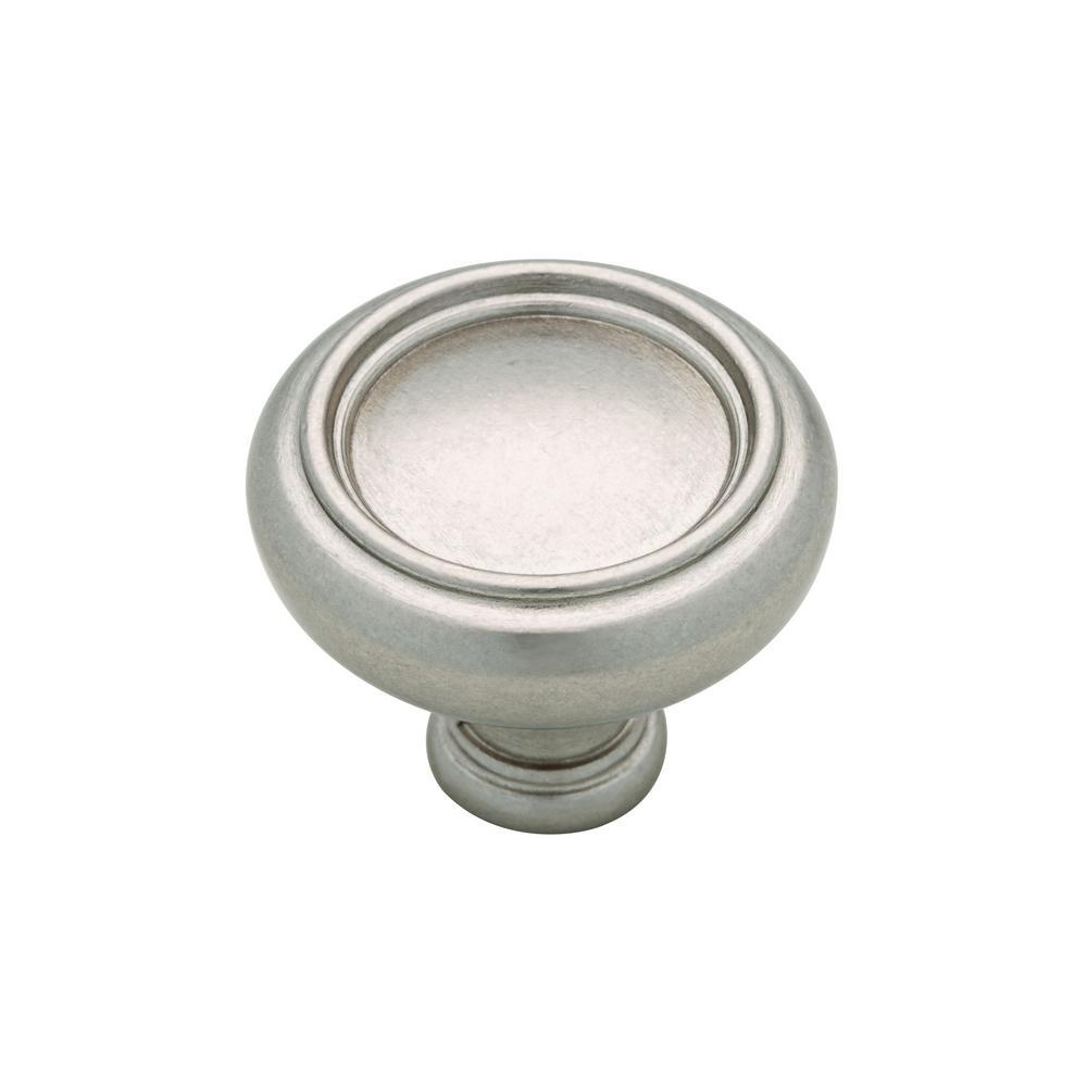 Halo 1-1/4 in. (32mm) Bedford Nickel Round Cabinet Knob (12-Pack)