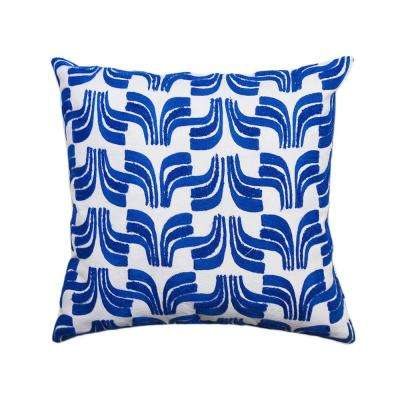 A1HC Geometric Embroidered 20 in. Blue Decorative Down Filled Throw Pillow