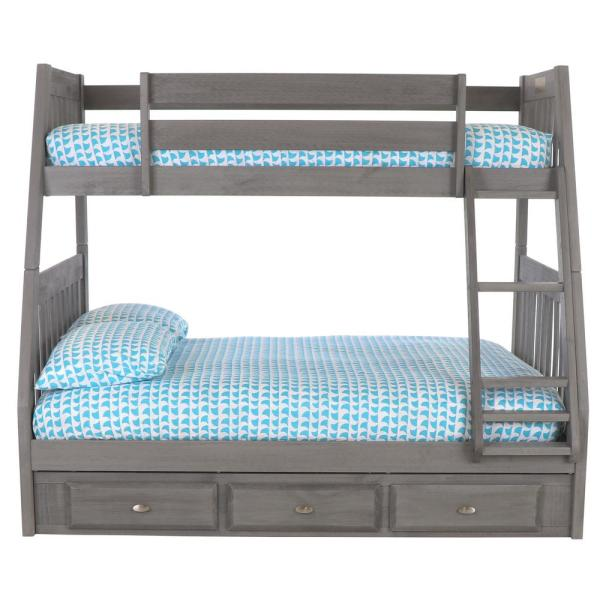 Charcoal Twin over Full Solid Wood Bunkbed with 3-Drawers Underneath