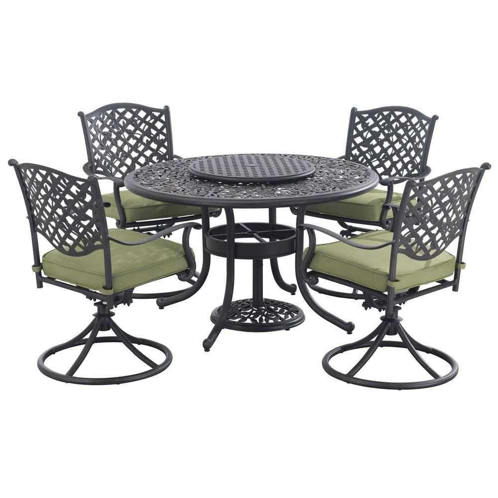 Sunjoy Vining 7 Piece Patio Dining Set With Green Cushions