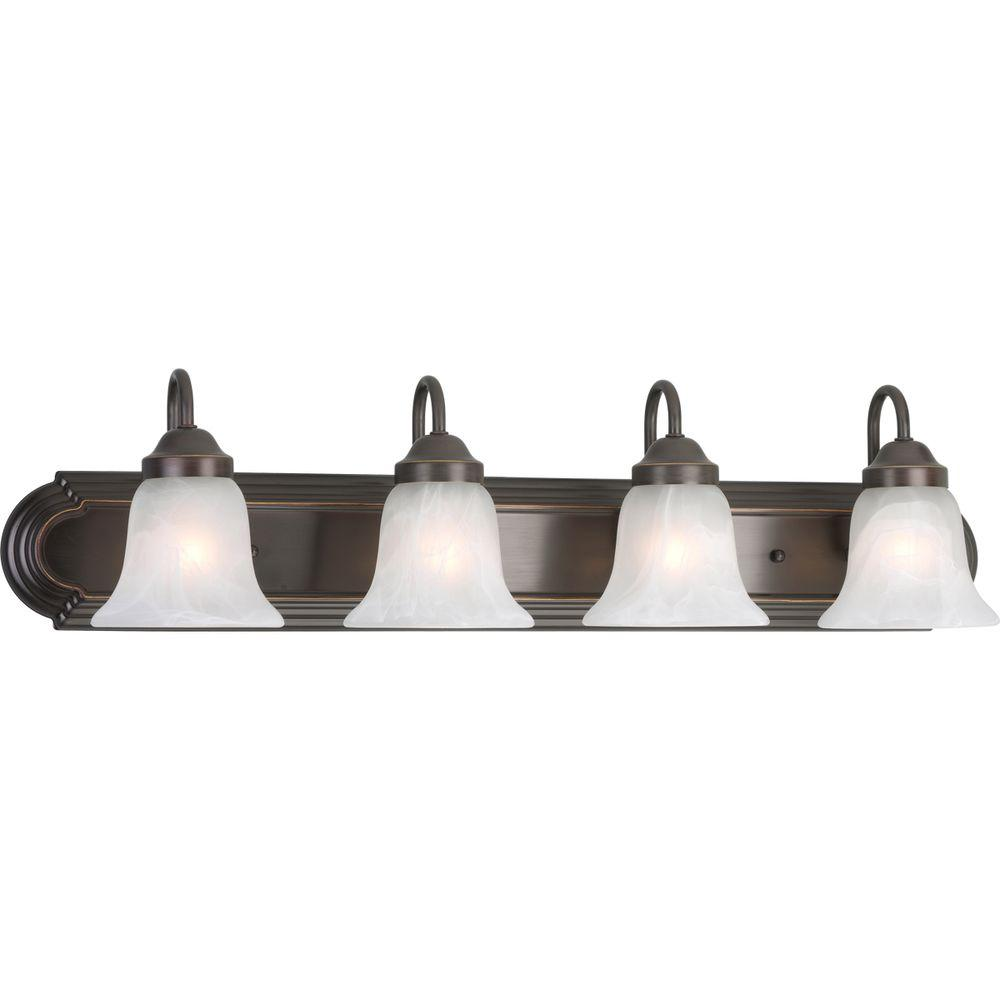 Progress Lighting Alabaster Glass 30 in. 4-Light Antique Bronze ...