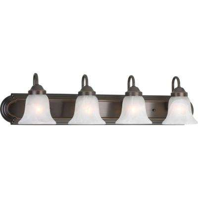 Alabaster Glass 4-Light Antique Bronze Vanity Light