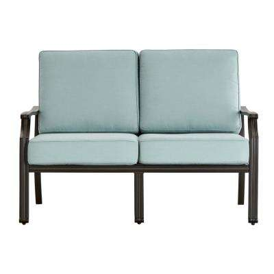 Thoren Aluminum Outdoor Loveseat with Sunbrella Blue Cushion