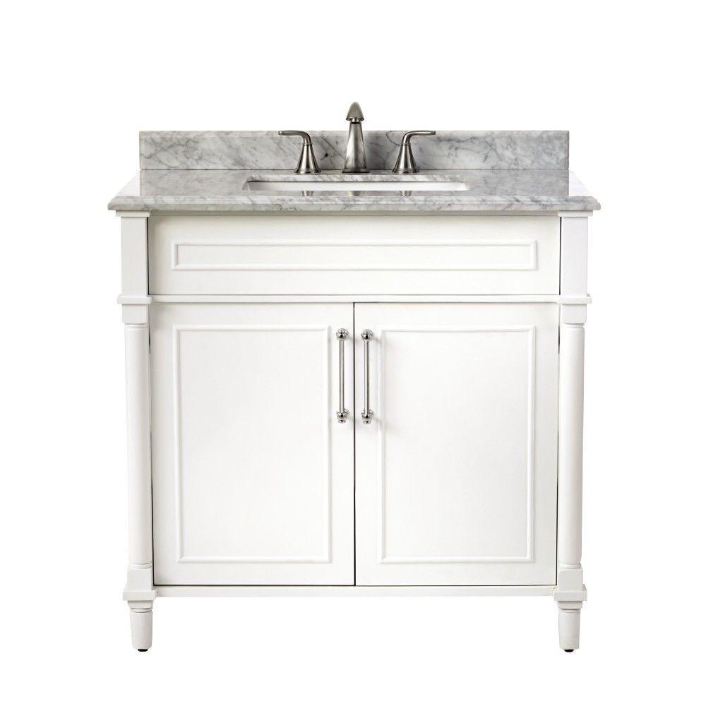 Home decorators collection aberdeen 36 in w x 22 in d single bath vanity in white with natural 22 inch wide bathroom vanity with sink
