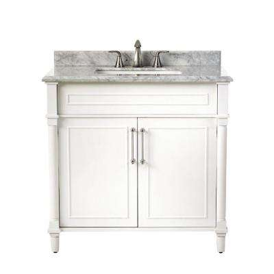 Aberdeen 36 in. W x 22 in. D Single Bath Vanity in White with Natural Marble Vanity Top in White