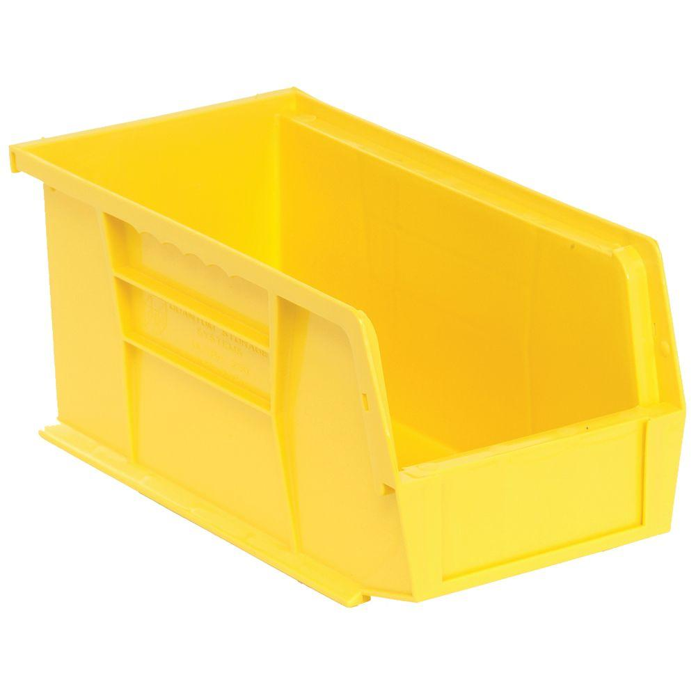 Stackable Plastic Storage Bin In Yellow (12 Pack)