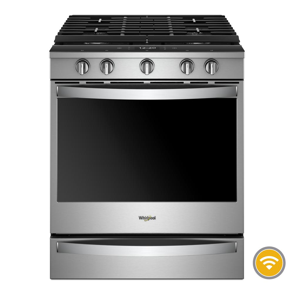 Whirlpool 5.8 cu. ft. Smart Slide-In Gas Range with EZ-2-LIFT Hinged Cast-Iron Grates in Fingerprint Resistant Stainless Steel
