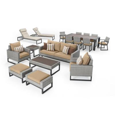 Milo Gray 18-Pieces Estate Wicker and Aluminum Outdoor Conversation Set with Maxim Beige Cushions