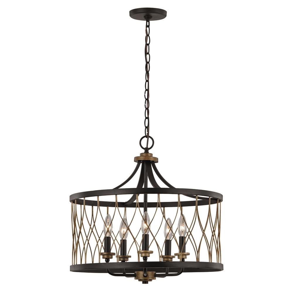 Bel Air Lighting Tahoe 5-Light Rubbed Oil Bronze Pendant