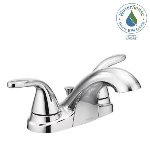 MOEN Adler 4 in. Centerset 1-Handle Low-Arc Bathroom Faucet in ...