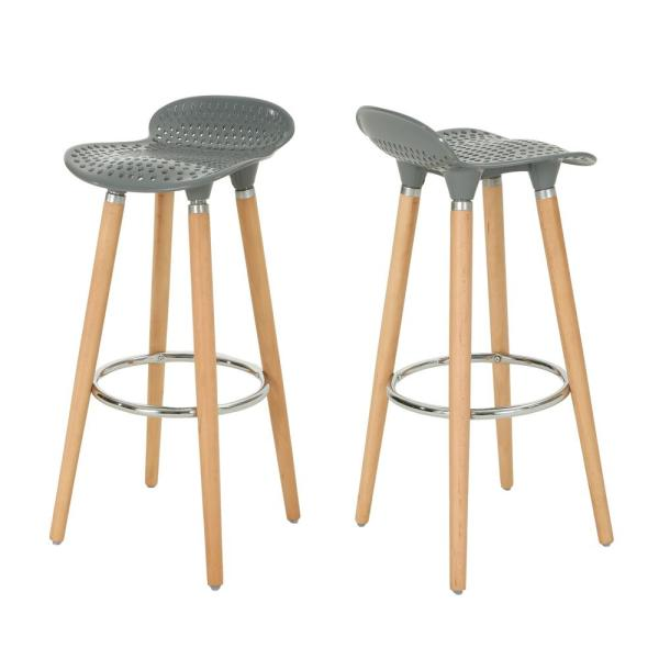 Noble House Dellwood 28.5 in. Gray Perforated Plastic Tractor-Seat Bar Stools
