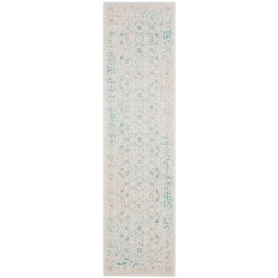 Passion Turquoise/Ivory 2 ft. x 8 ft. Runner Rug