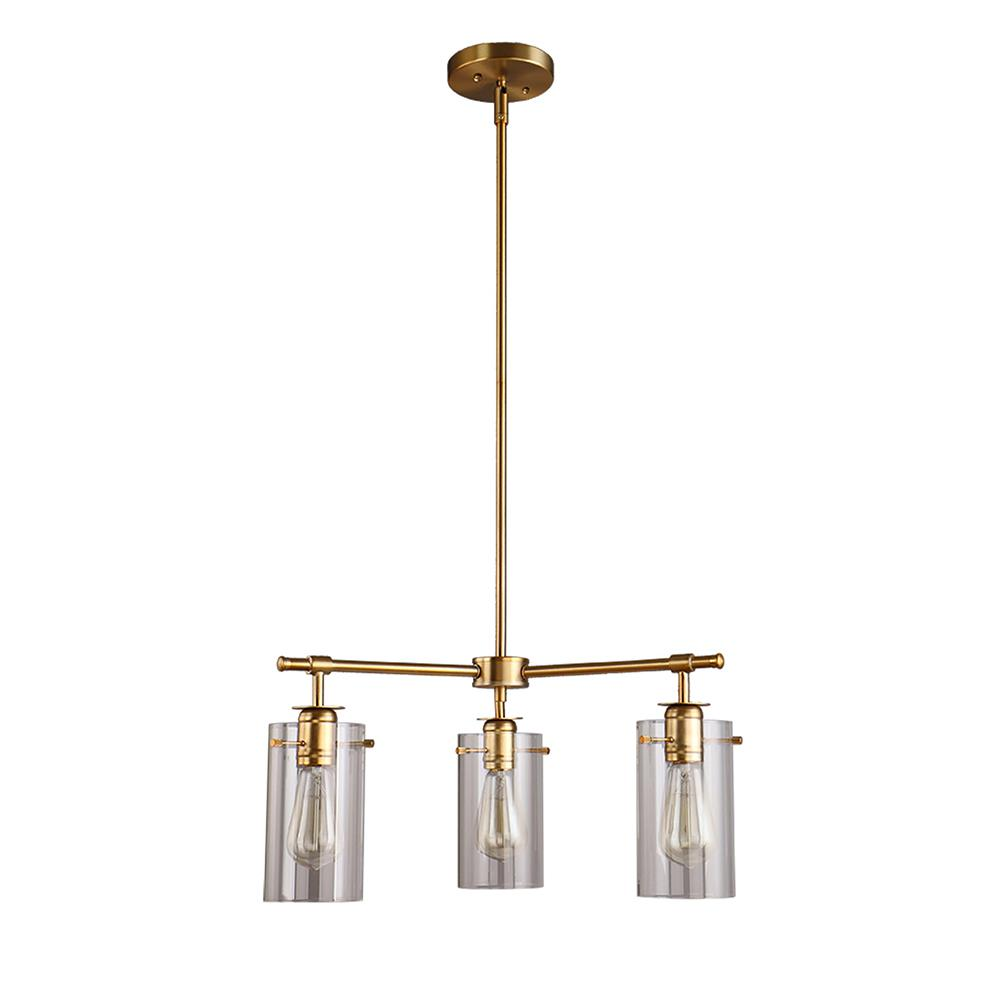 Brooklyn Collection 3-Light Antique Brass Chandelier with Clear Glass Shades