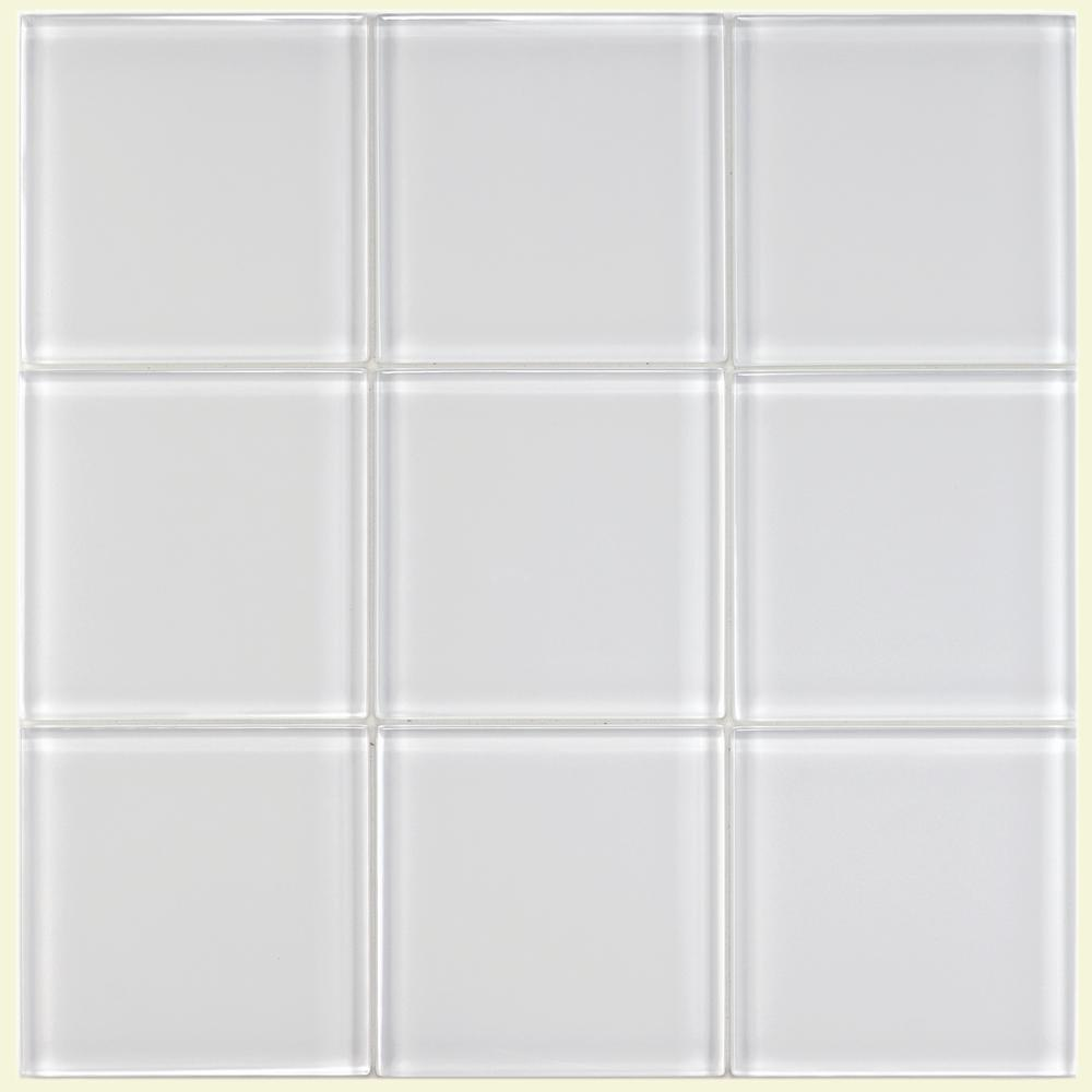 Merola Tile Tessera Ice White In X In Glass Wall Tile Sq - Clear glass tiles 4x4