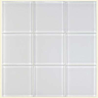 Tessera Ice White 4 in. x 4 in. Glass Wall Tile (1 sq. ft. / pack)