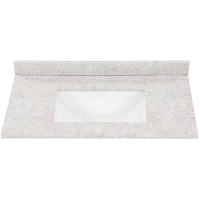 37 in. W x 22 in. D Stone Effect Vanity Top in River Stone with White Sink