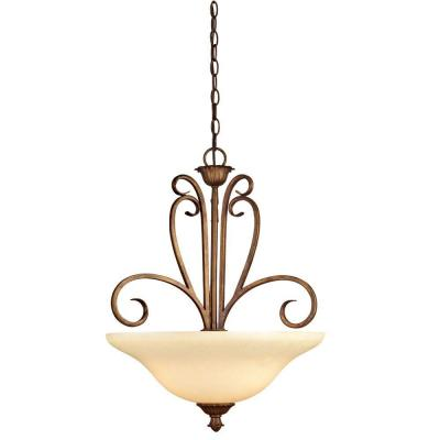 Regal Springs 3-Light Ebony Gold Pendant