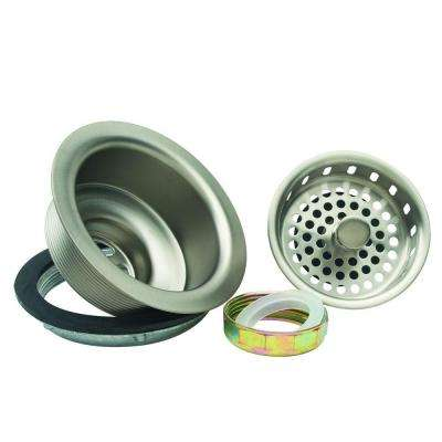 3-1/2 in. Post Style Basket Strainer with Nut and Washer in Satin Nickel