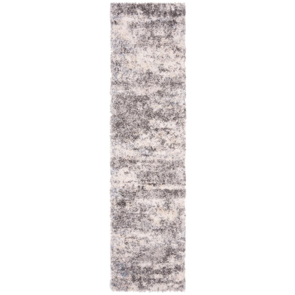 Berber Shag Gray/Cream 2 ft. x 8 ft. Runner Rug